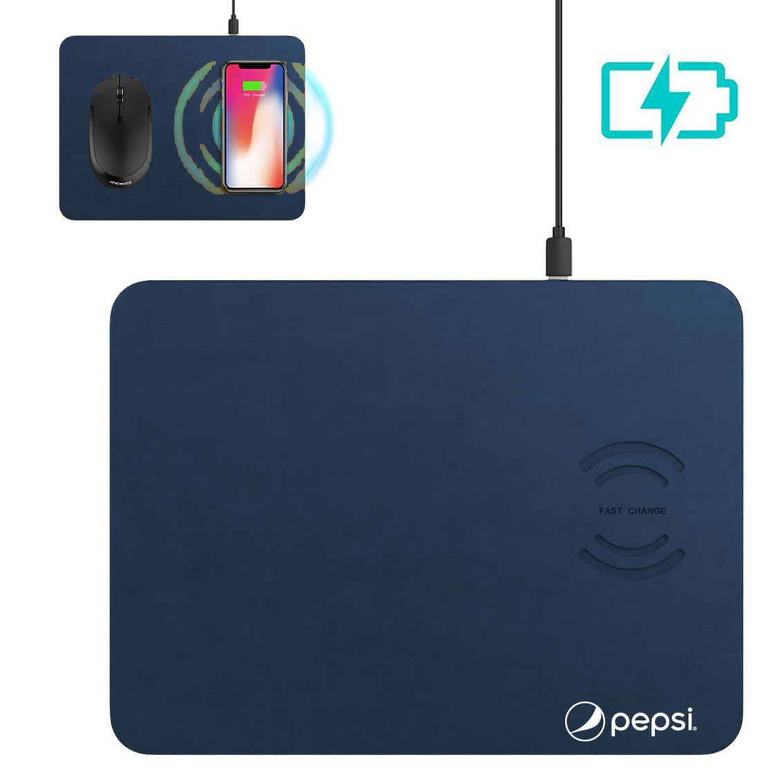 Leather Wireless Mousepad Charger - Pepsi