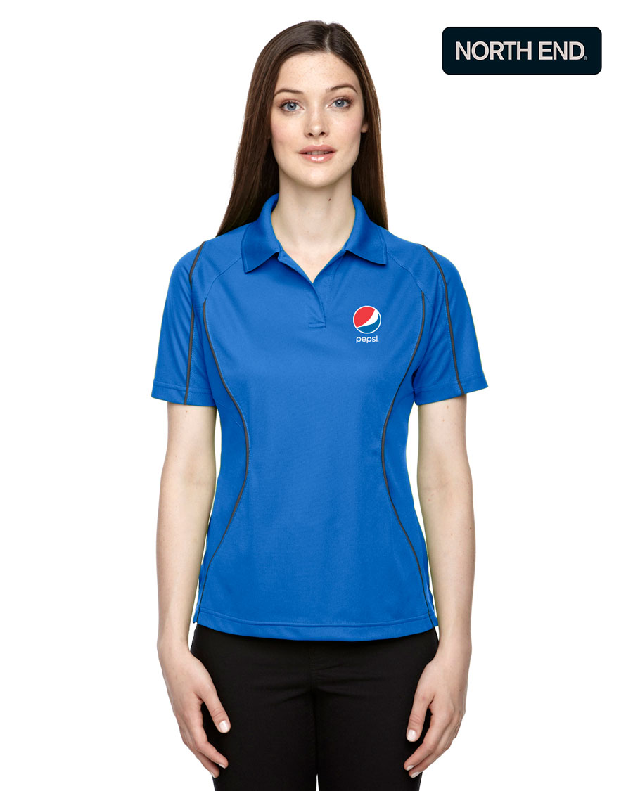 Ladies' Eperformance™ Velocity Snag Protection Colorblock Polo with Piping - Pepsi