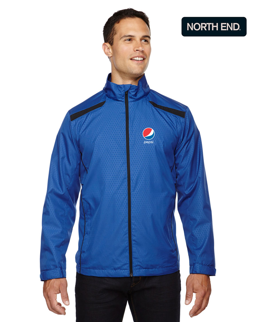 North End Men's Tempo Lightweight Recycled Polyester Jacket with Embossed Print - Pepsi