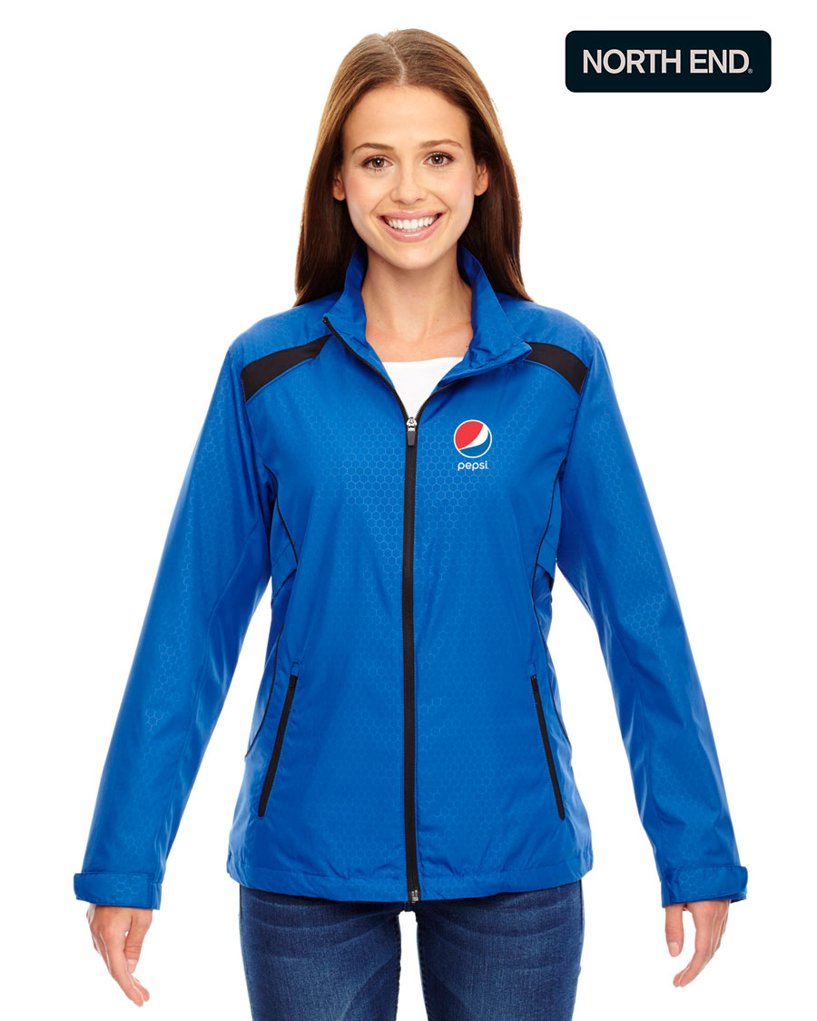 North End Ladies' Tempo Lightweight Recycled Polyester Jacket with Embossed Print - Pepsi