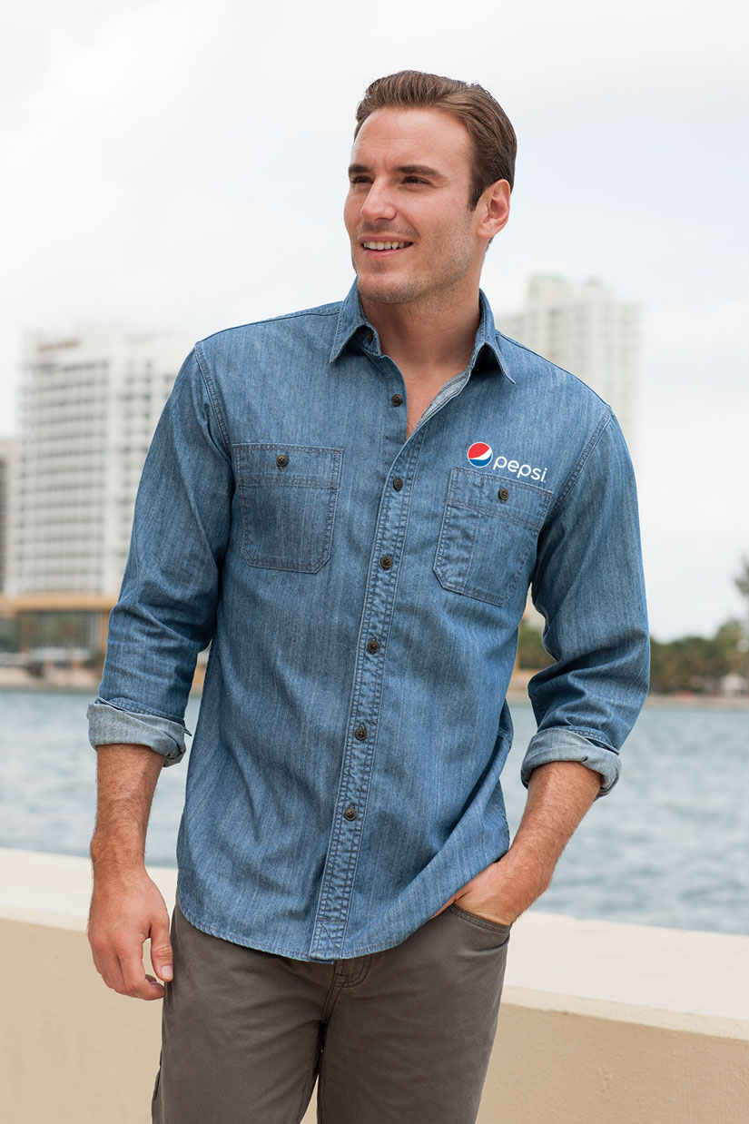 Denim Shirt with Patch Pockets
