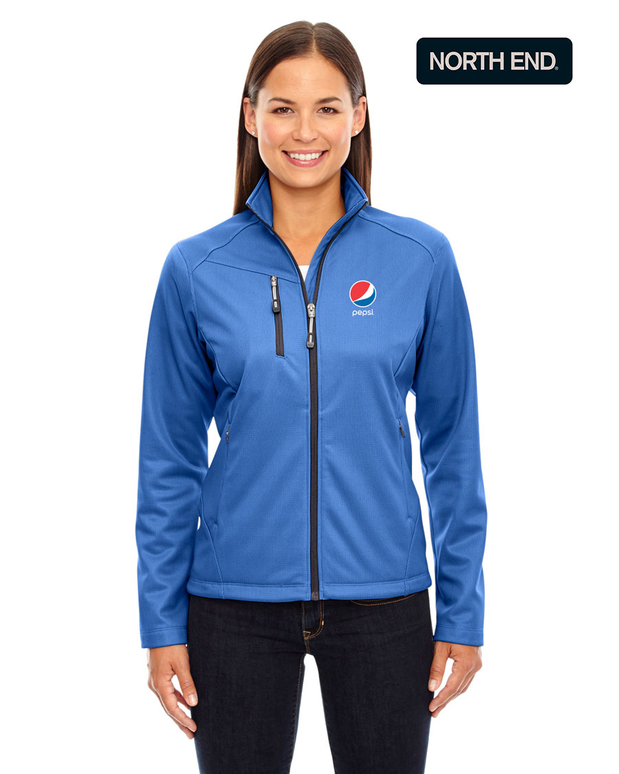 North End Ladies' Printed Fleece Jackets - Pepsi