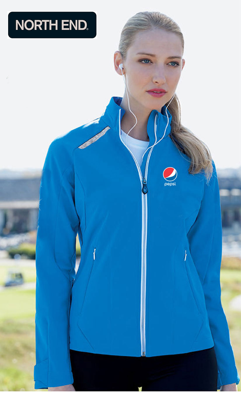 North End Excursion Ladies Soft Shell Jacket With Laser Stitch Accents - Pepsi