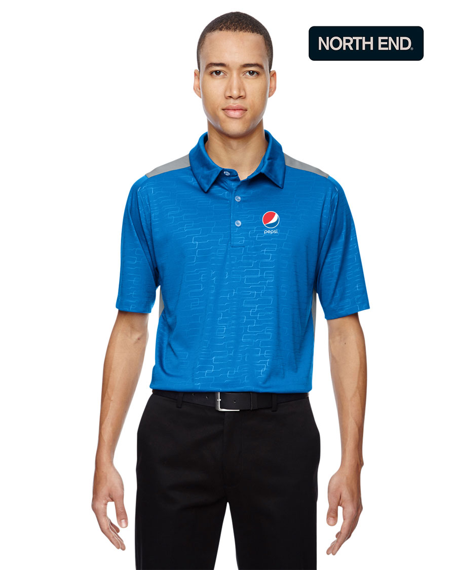 North End Men's Reflex UTK Cool Logik™ Performance Embossed Print Polo - Pepsi