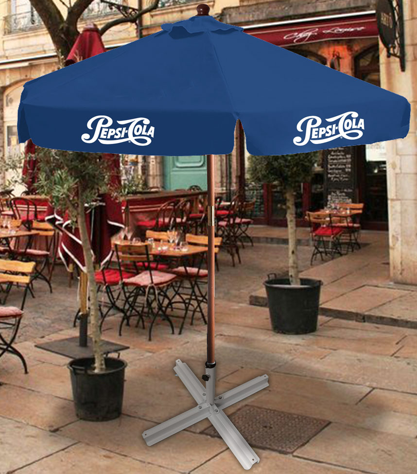 7ft Wooden Canopy Umbrella - Pepsi Cola