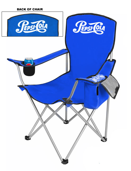 NEW DESIGN Cool Camping Chair With Side Pocket Cooler - Pepsi Cola