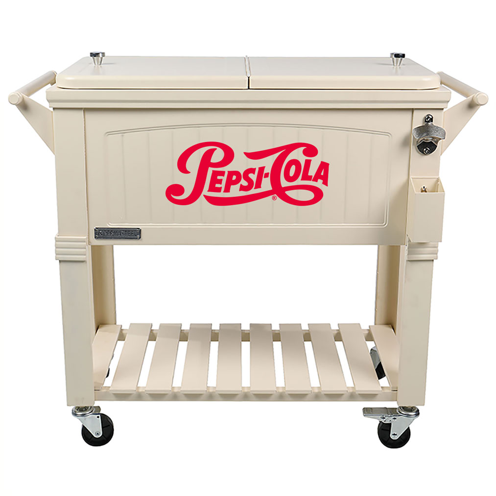 80 QT Antique Furniture Style Rolling Patio Cooler - Cream - Pepsi-Cola