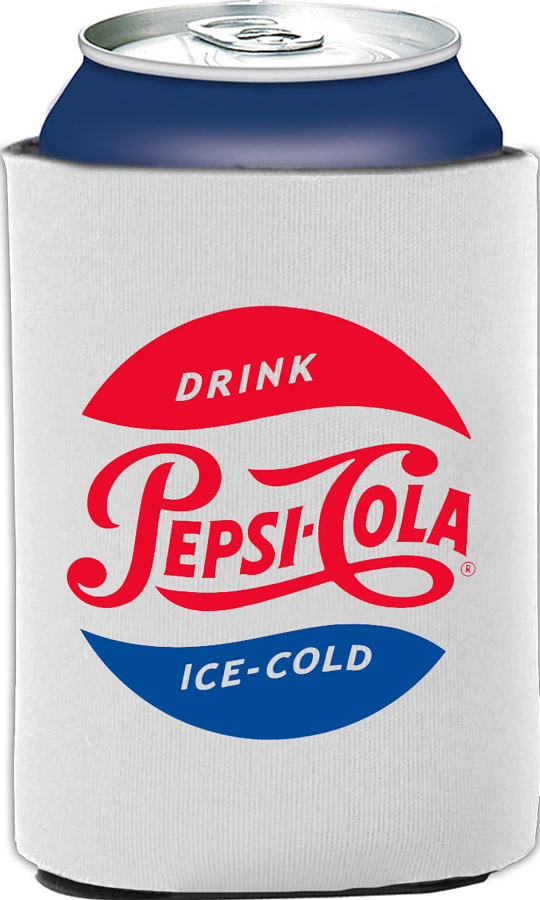 Pepsi Cola Retro Vintage Collapsible Foam Can Holder - White