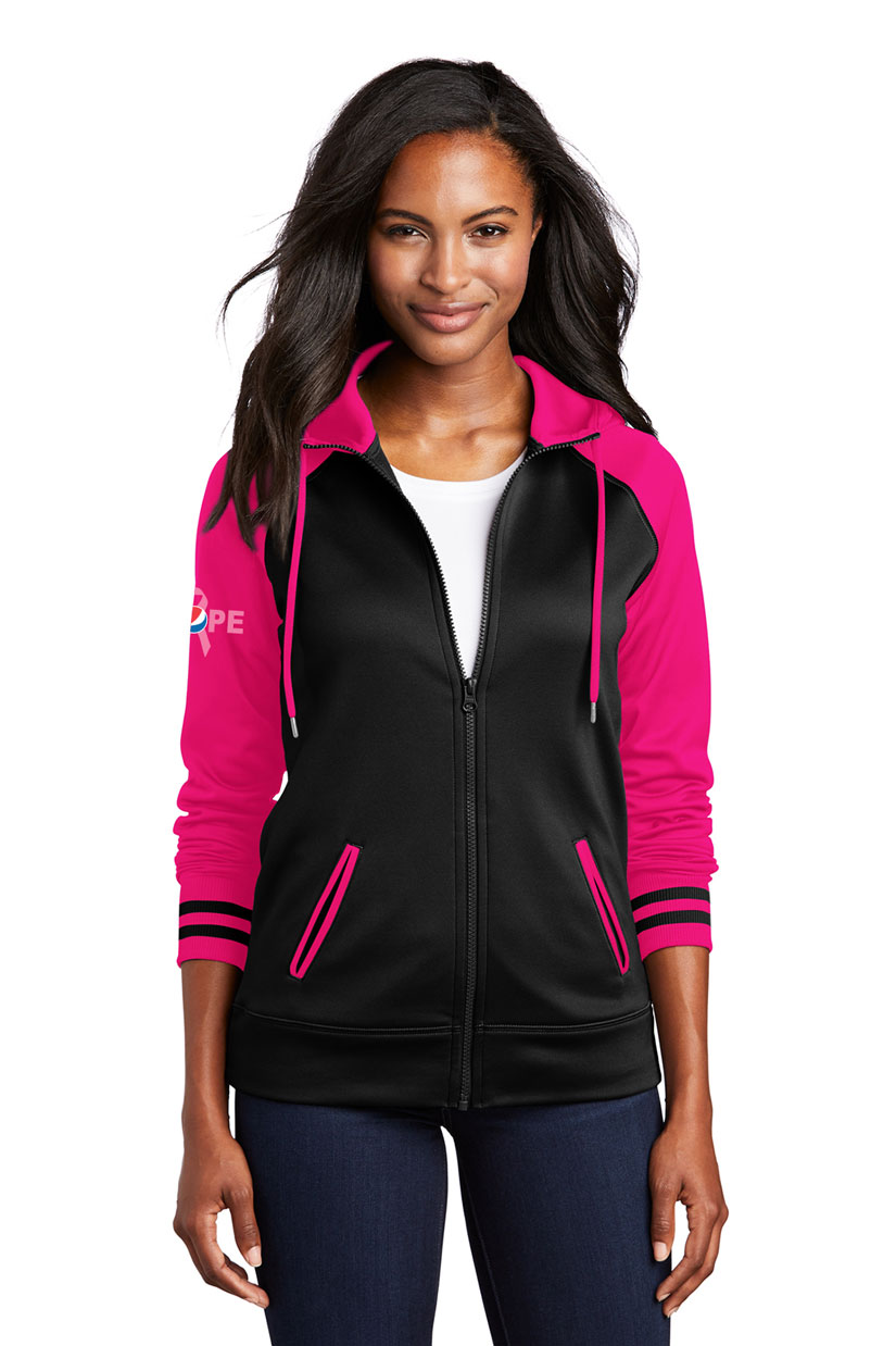 Ladies Sport-Wick® Varsity Fleece Full-Zip Hooded Jacket - Awareness