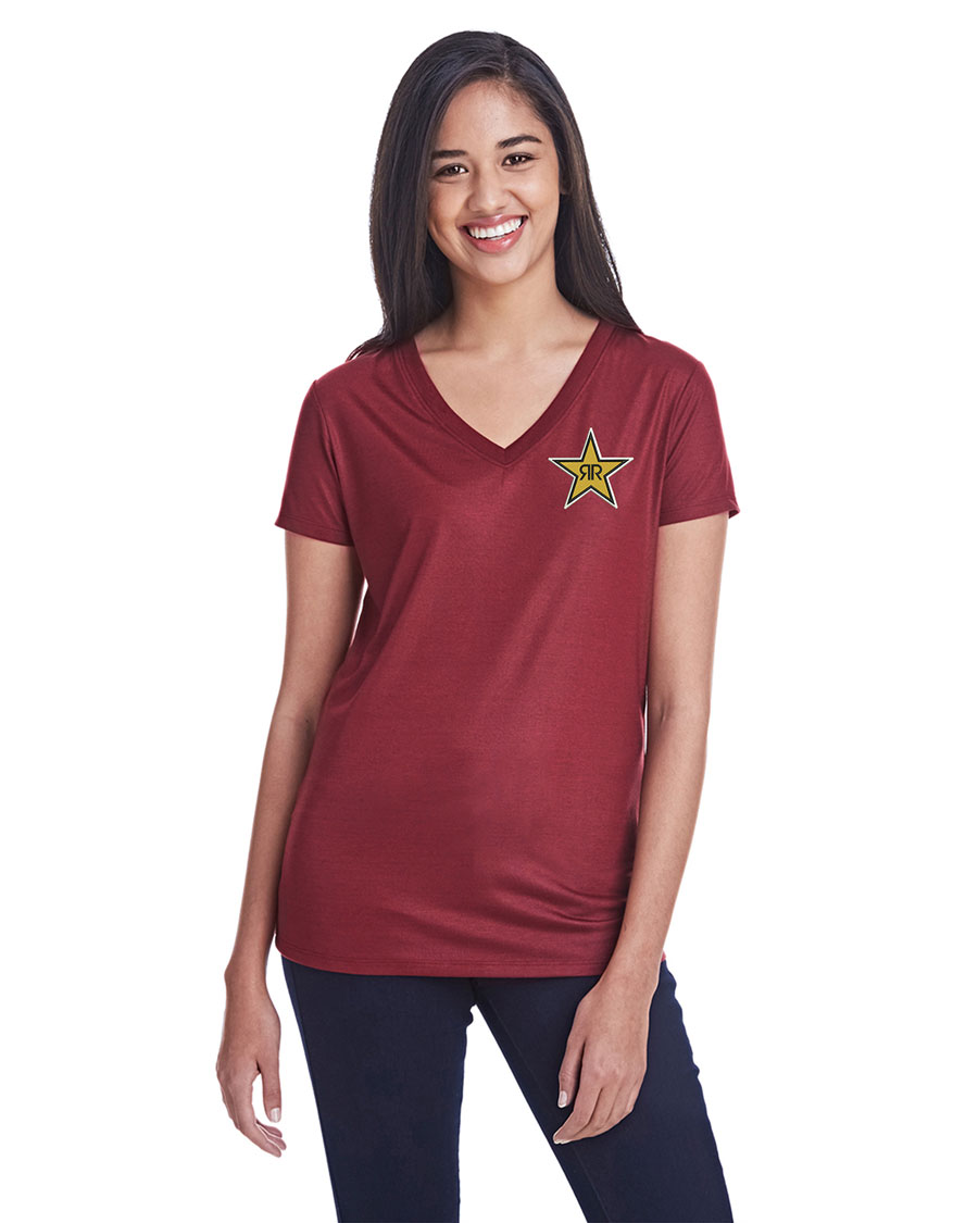 Ladies' Liquid Jersey V-Neck T-Shirt - Rockstar