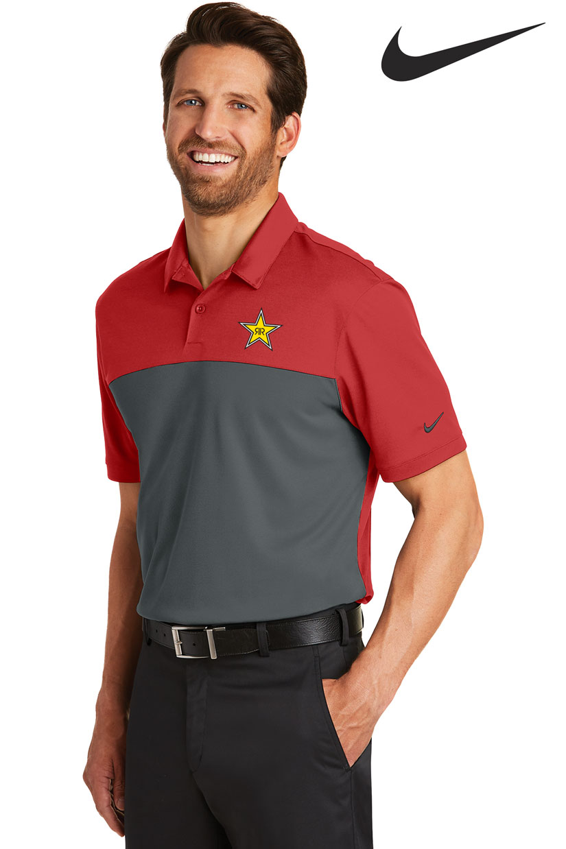 Nike Men's Golf Dri-FIT Colorblock Micro Pique Polo - Rockstar