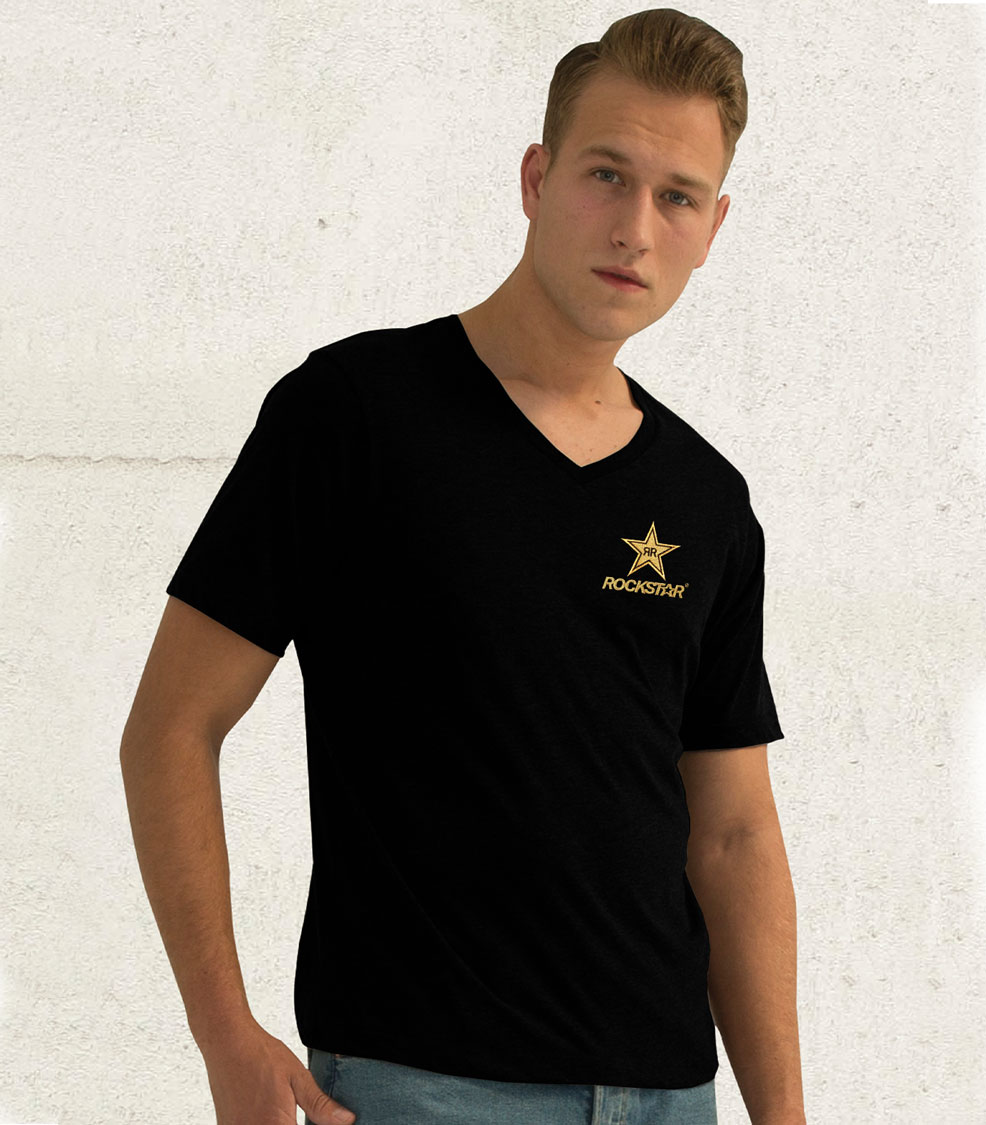 RING SPUN V-NECK T-SHIRT - ROCKSTAR