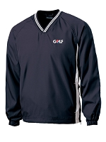 Tipped V-Neck Raglan Wind Shirt (Navy) - Golf
