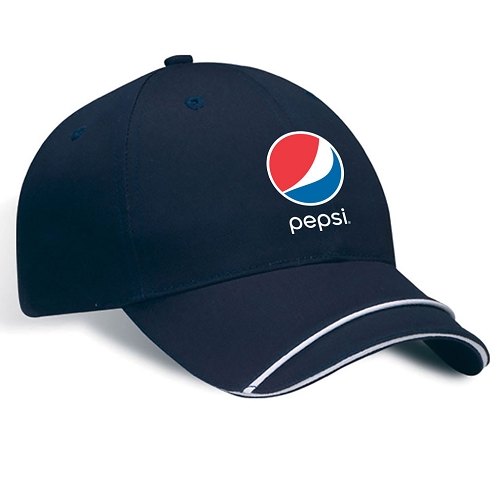 Structured Chino Twill Contrasting Sandwich Stream Piping Cap - Pepsi