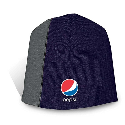 Fine Knit Off Center Two-Tone Design Beanie - Pepsi
