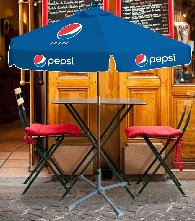 7ft Wooden Canopy Umbrella - Pepsi