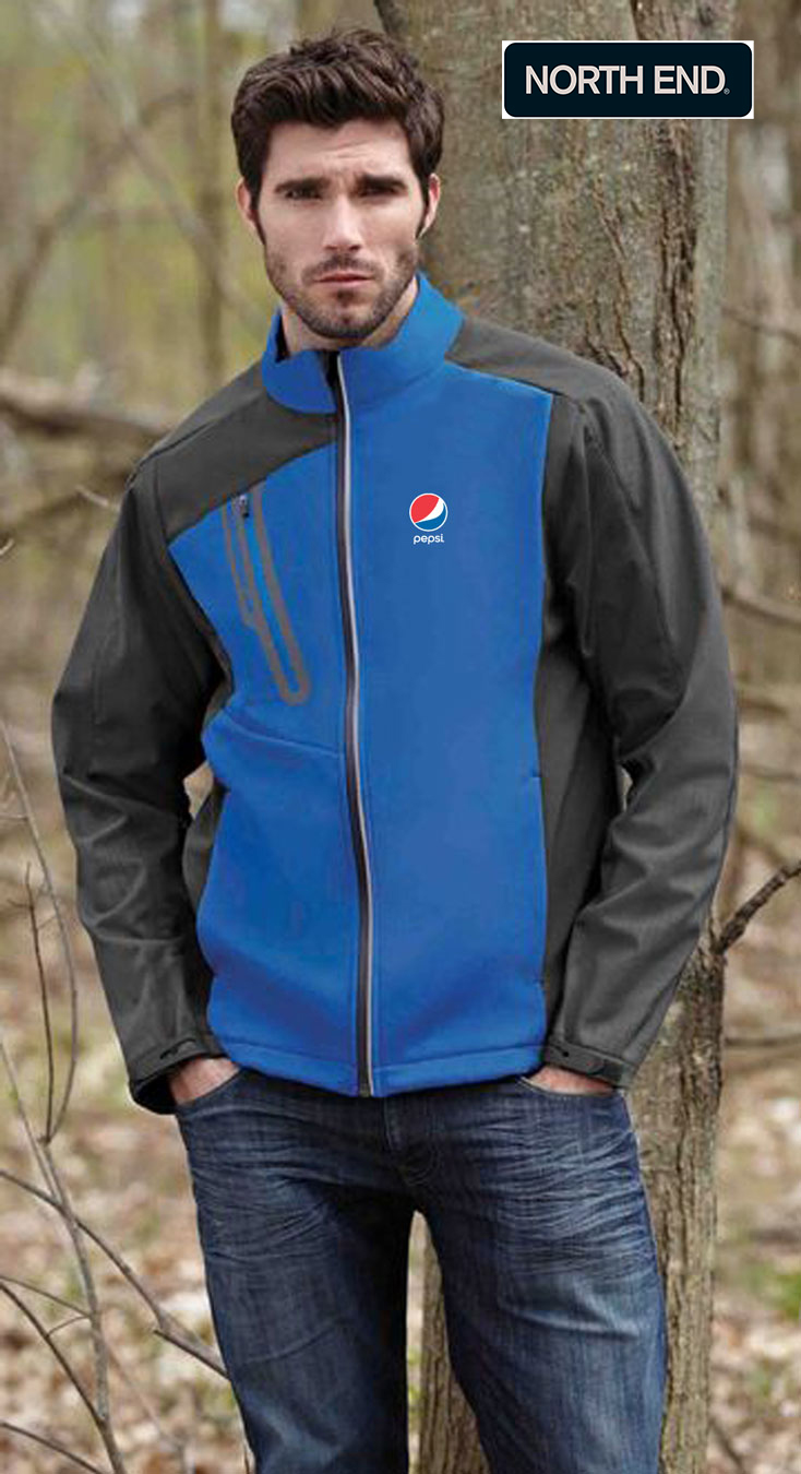 North End Terrain Men's Colour-Block Soft Shell Jacket - Pepsi