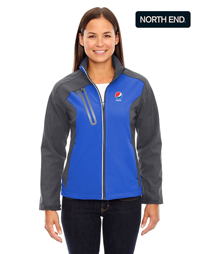 North End Terrain Ladies' Colour-Block Soft Shell Jacket - Pepsi
