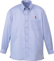 Men's Wrinkle Free 2-Ply 80s Cotton Jacquard Taped Shirt - Pepsi