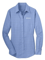 Ladies Windowpane Plaid Non-Iron Shirt - Pepsi
