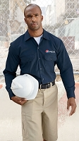 Men's 5.25 oz. Long-Sleeve Work Shirt - Pepsi