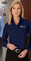 Ladies'  Wrinkle Resistant Cotton Blend Poplin Taped Shirt - Pepsi