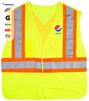 HV 5 Point Tearaway Mesh Vest With Contrast Reflective Material - Pepsi