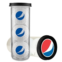 Three Ball Value Golf Gift Tube with Domed Imprint - Pepsi