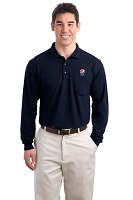 Men's Long Sleeve Silk Touch  Polo with Pocket - Pepsi