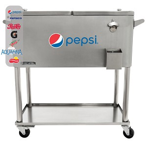 80 QT Stainless Steel Patio Cooler With Bottle Tray