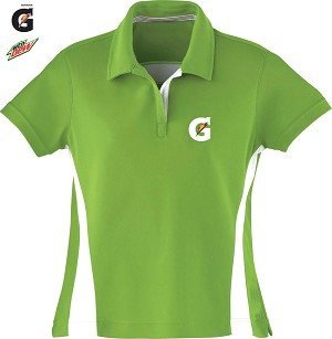 Ladies' Polyester Pique Polo With Stripe - Acid Green