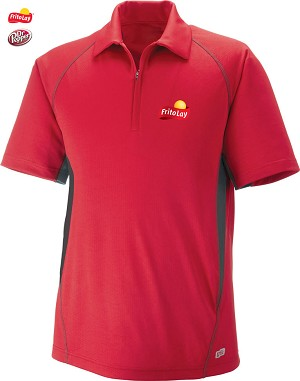Men's Cool Logic Performance Zippered Polo - Olympic Red