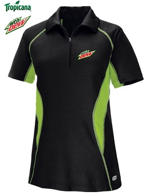 Ladies' Cool Logic Performance Zippered Polo - Black/Acid Green