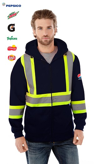 Men's Hivis Full Zip Polyester Fleece Hoodie - Pepsi