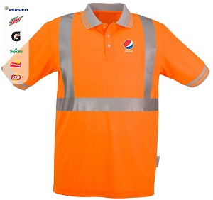 High Visibility 100% polyester Wicking Polo Shirt - Pepsi