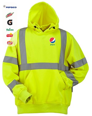 High Visibility Polyester Fleece Hooded Pullover
