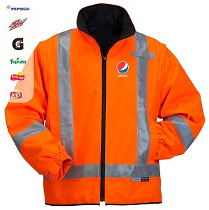 High Visibility 2-in-1 Thermal Jacket with Detachable Sleeves - Pepsi