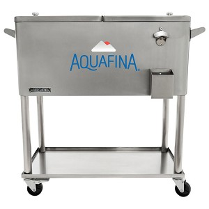 80 QT Stainless Steel Patio Cooler With Bottle Tray - Aquafina