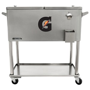 80 QT Stainless Steel Patio Cooler With Bottle Tray - Gatorade