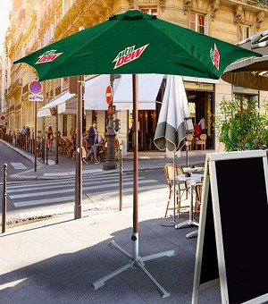 7ft Wooden Patio Umbrella - MTN Dew.....Please Login To see our very Special Pricing