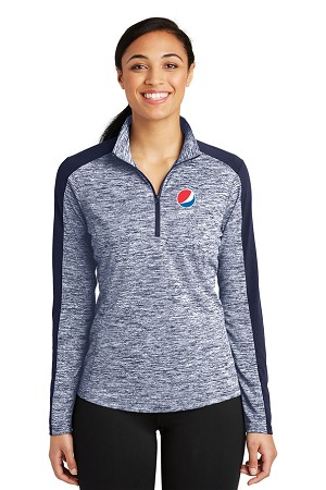 Ladies PosiCharge® Electric Heather Colorblock 1/4-Zip Pullover - Pepsi