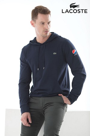 Lacoste Men's Hooded Cotton Jersey Sweatshirt - Pepsi