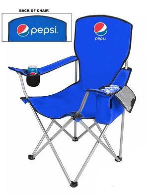 NEW DESIGN Cool Camping Chair With Side Pocket Cooler - Pepsi.....Please Login To see our Special Pricing
