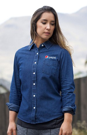 New Premium Collection Ladies' Premium Denim Workshirt - Pepsi