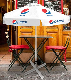 7ft Metal Canopy Umbrella - Pepsi (White)