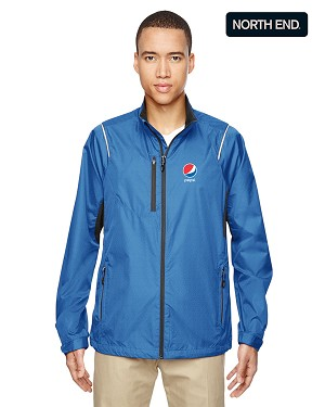 North End Men's Sustain Lightweight Recycled Polyester Dobby Jacket with Print - Pepsi