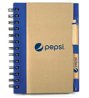 70% Recycled Notebook and Pen Combo - Pepsi