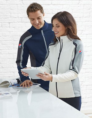 Strike Ladies Colour-Block Fleece Jacket - Pepsi