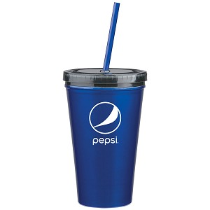16 Oz. Stainless Steel Double Wall Tumbler With Straw - Pepsi