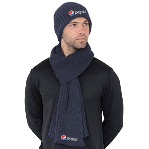 Chunky Beanie and Scarf Combo - NAVY - Pepsi
